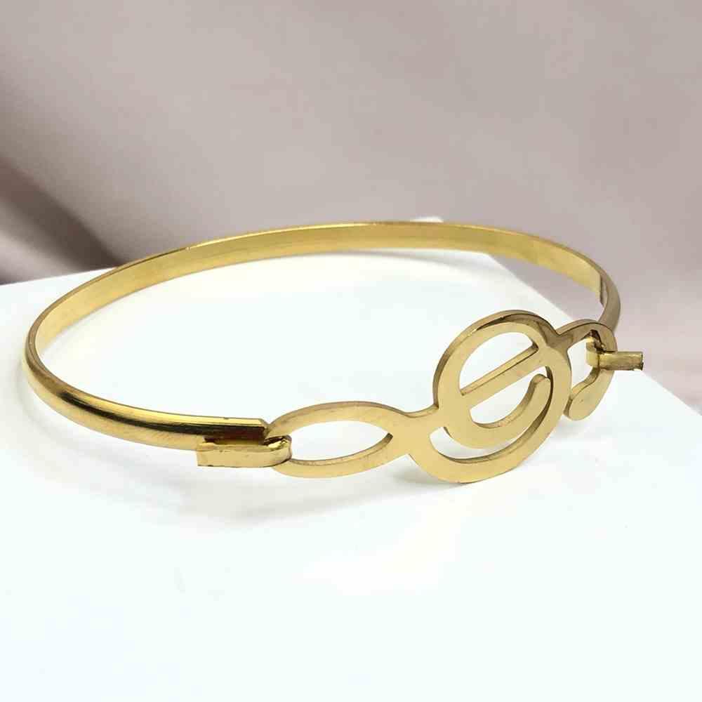 Pulseira feminina bracelete feminino banhado dourado em aço inoxidável nota musical