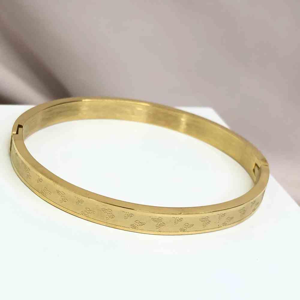 Pulseira feminina bracelete feminino dourado banhado em aço inoxidável borboletinhas borboleta