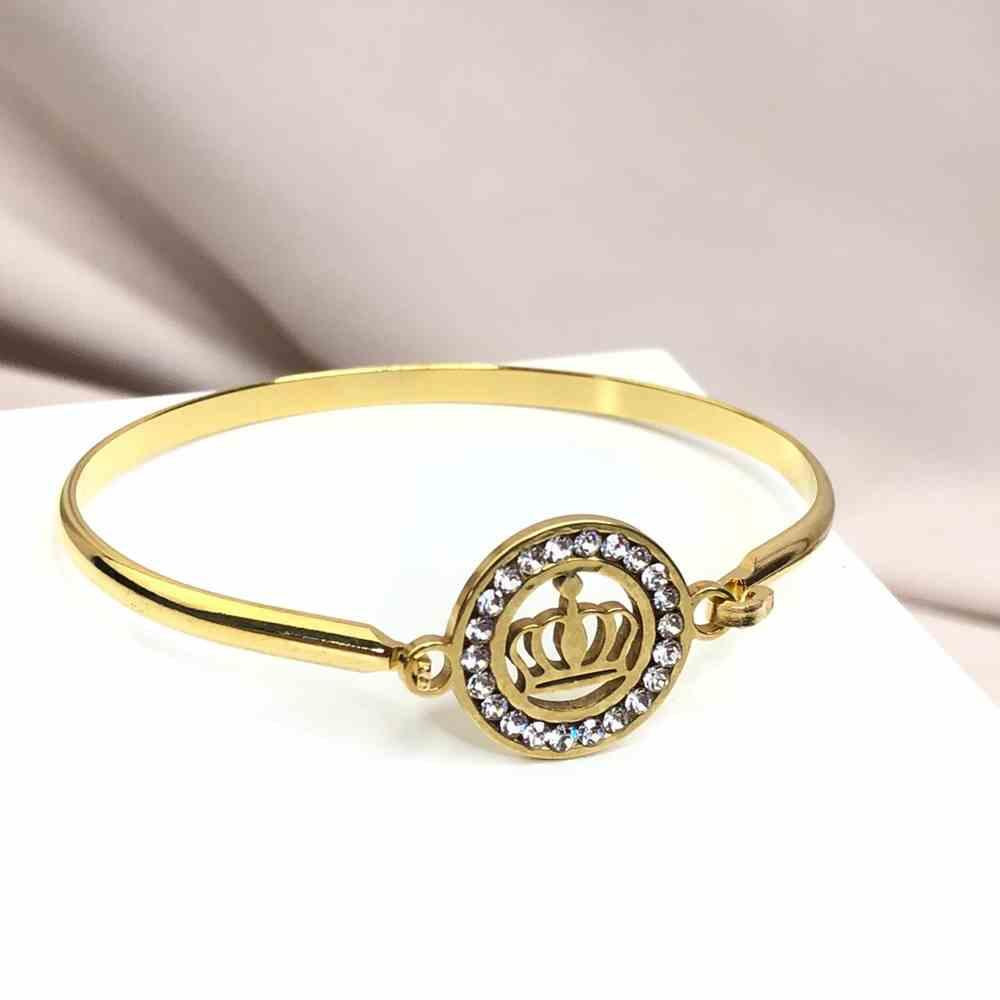 Pulseira feminina bracelete feminino em aço inoxidavel banhado dourado Coroa cravejado strass
