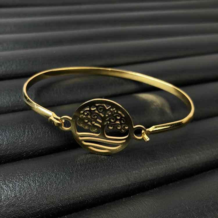 Pulseira feminina bracelete feminino em aço inoxidavel dourado árvore da vida