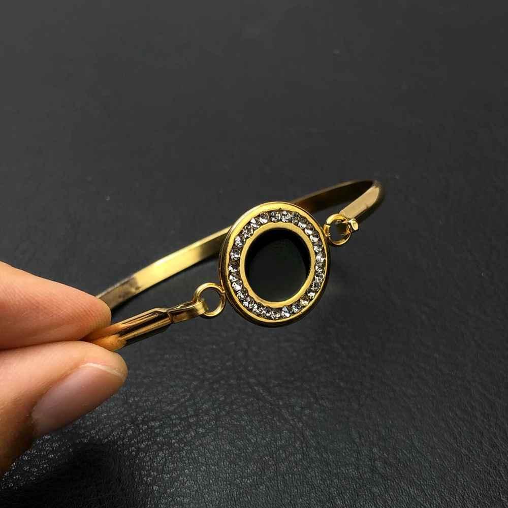 Pulseira feminina bracelete feminino em aço inoxidavel dourado aro preto pedrinha strass prata
