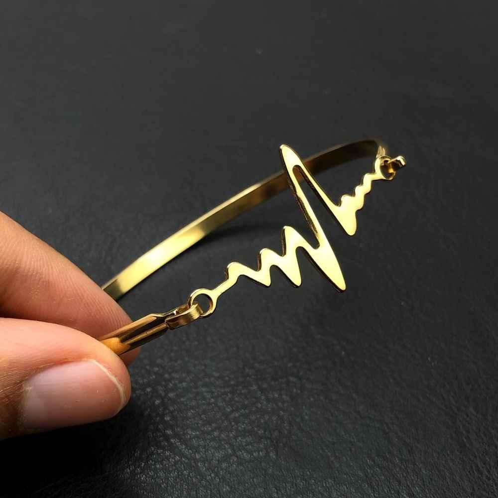 Pulseira feminina bracelete feminino em aço inoxidavel dourado batimentos cardiacos
