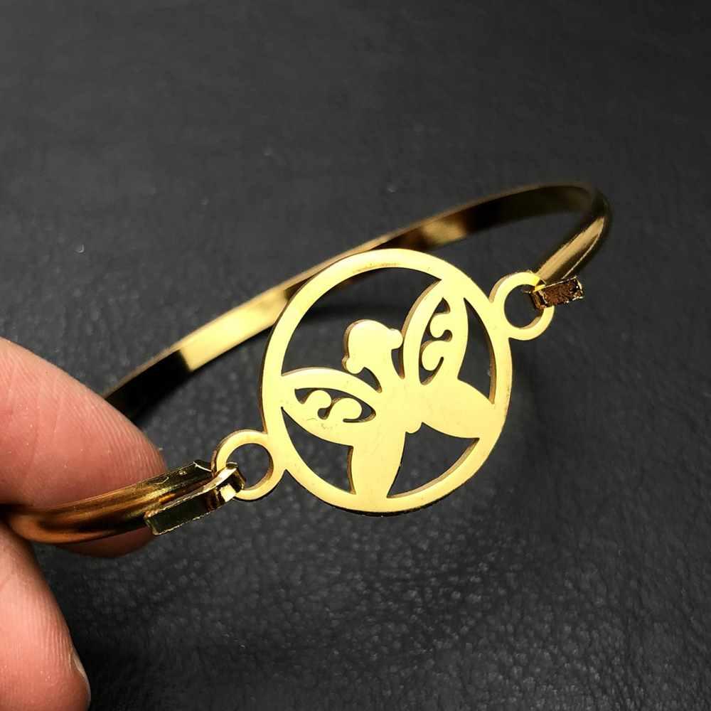 Pulseira feminina bracelete feminino em aço inoxidavel dourado borboleta