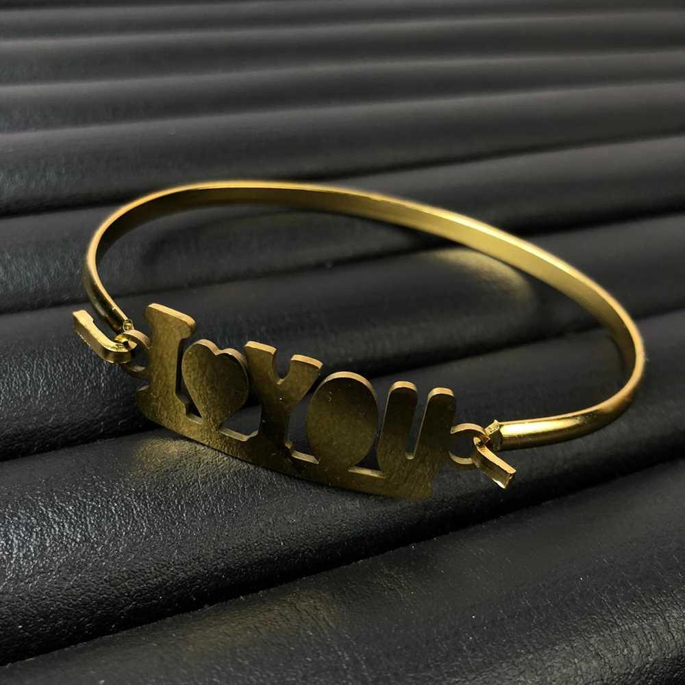 Pulseira feminina bracelete feminino em aço inoxidavel dourado i love you