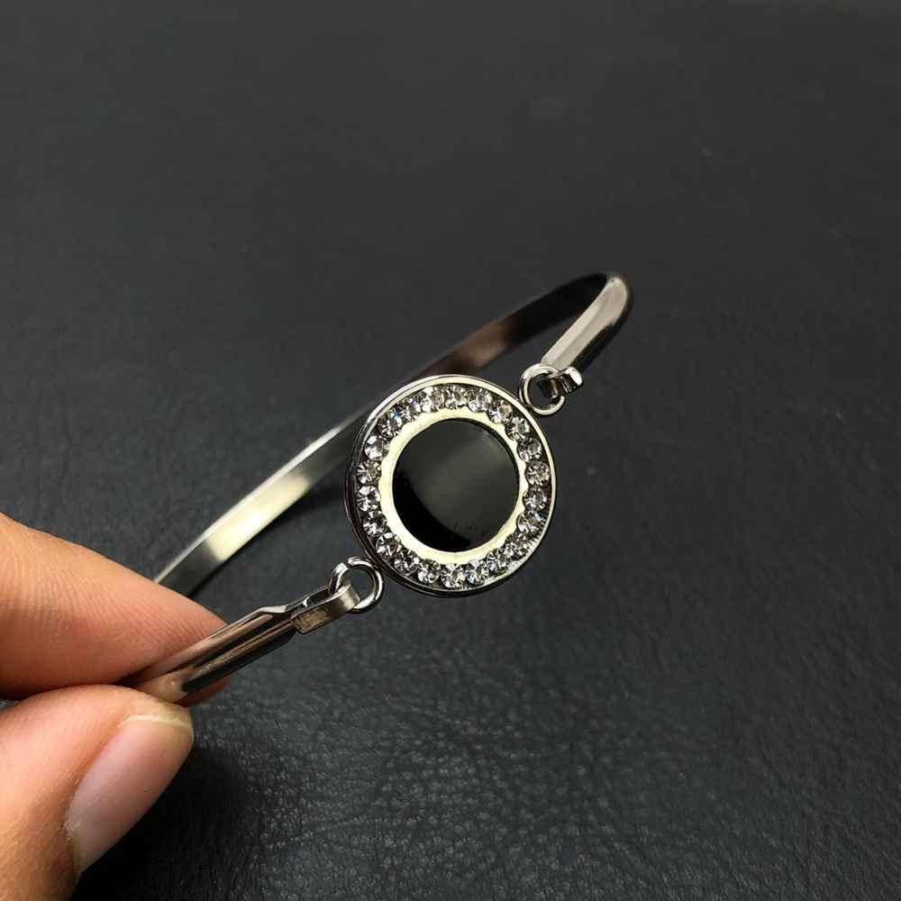Pulseira feminina bracelete feminino em aço inoxidavel prata aro preto pedrinha strass prata