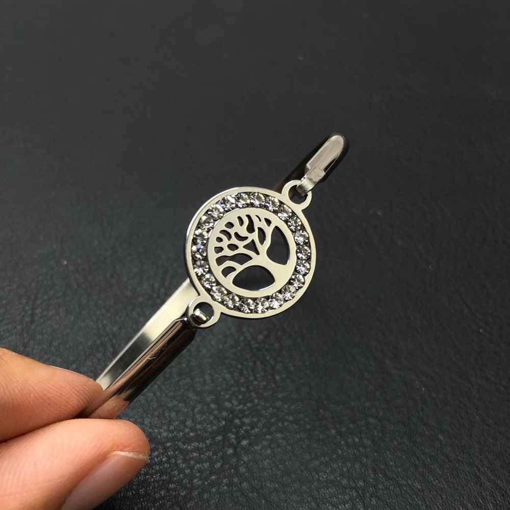 Pulseira feminina bracelete feminino em aço inoxidavel prata árvore da vida pedrarias prata