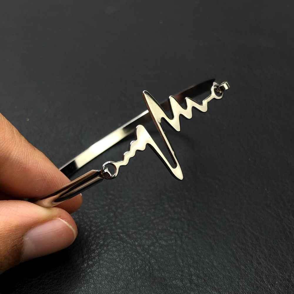 Pulseira feminina bracelete feminino em aço inoxidavel prata batimentos cardiacos
