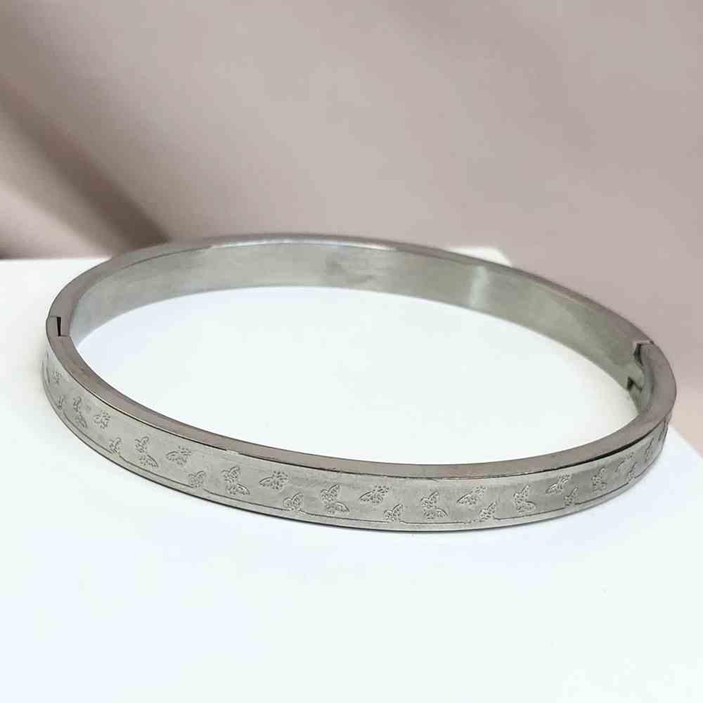 Pulseira feminina bracelete feminino prata em aço inoxidável borboletinhas borboleta
