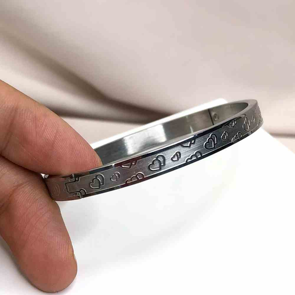 Pulseira feminina bracelete feminino prata em aço inoxidável coração
