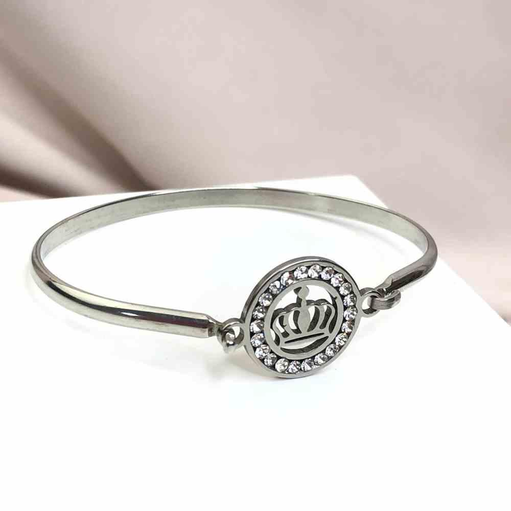 Pulseira feminina bracelete feminino prata em aço inoxidável Coroa cravejado strass