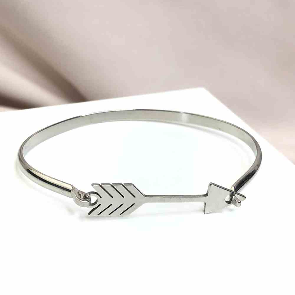 Pulseira feminina bracelete feminino prata em aço inoxidável flecha