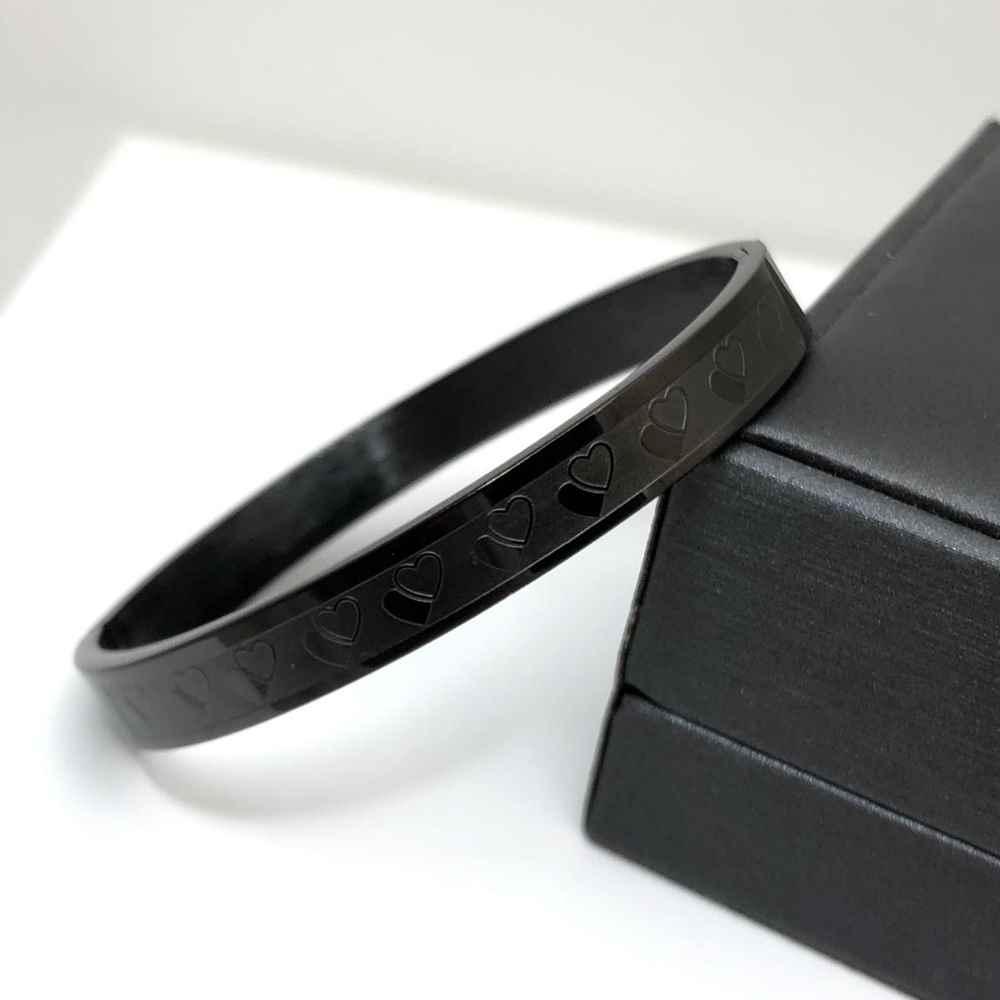 Pulseira feminina Bracelete preta corações 8mm Aço Inoxidável