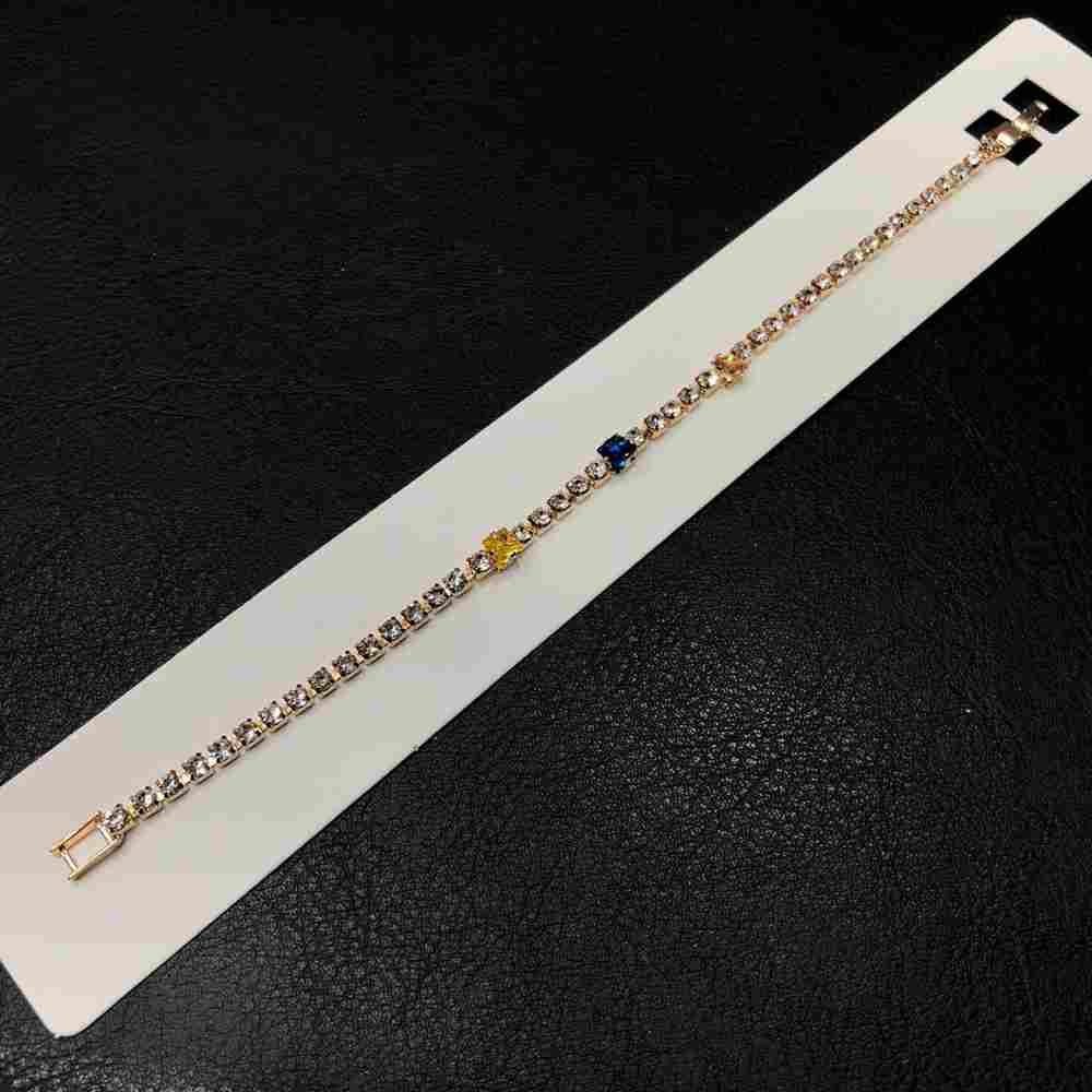 Pulseira feminina dourada delicada estilo riviera strass prata quadradinhos colorful