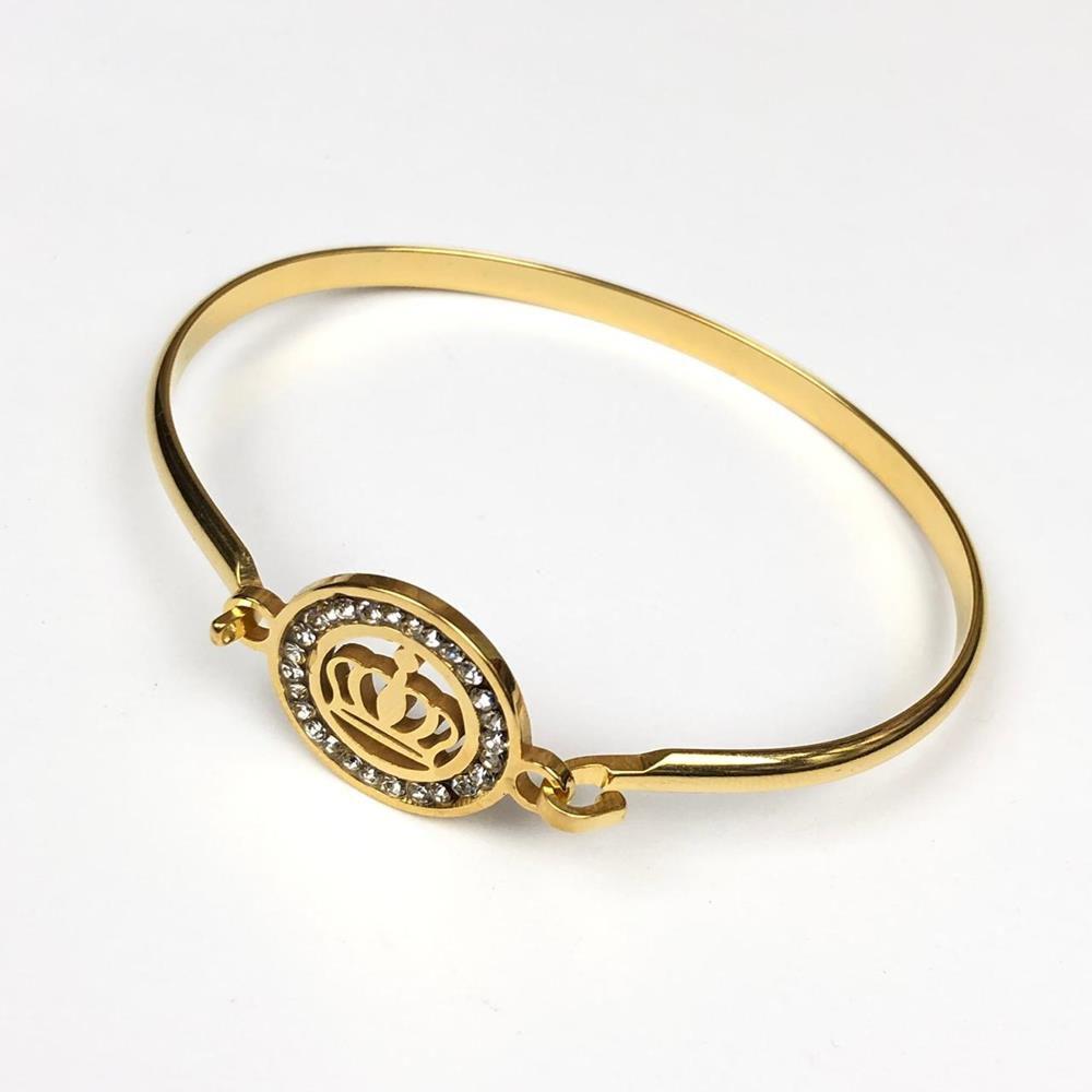 a351f7e353 50% Off Pulseira Feminina Solitária Bracelete Dourado Coroa Pedrinhas de  Strass