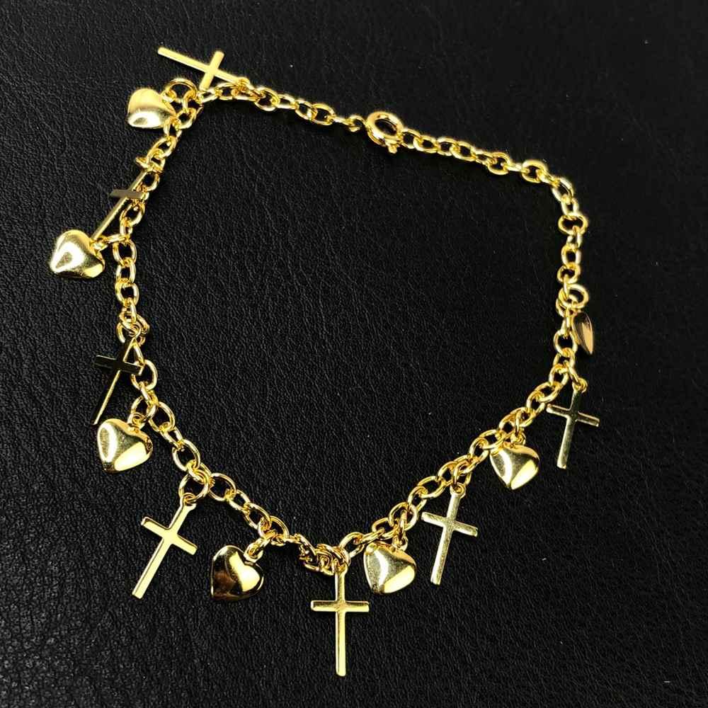 Pulseira folheada a ouro corações e cruz