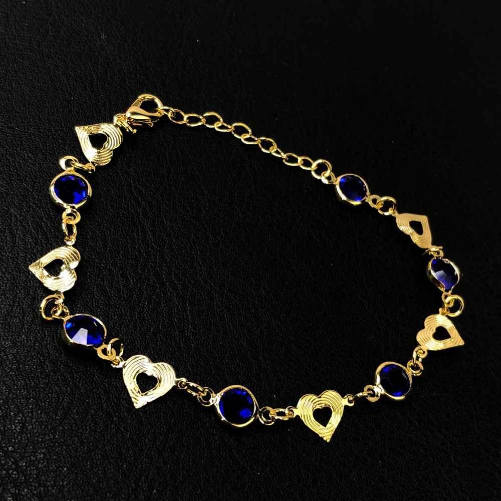 Pulseira folheada a ouro corações e pedrarias azul marinho