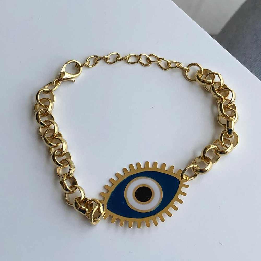Pulseira folheada a ouro correntaria olho grego esmaltado azul marinho