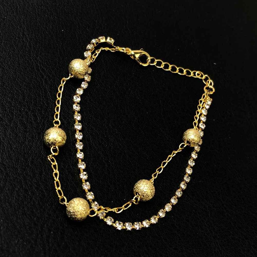 Pulseira folheada a ouro duplo esferas estilhaçadas e pedrinhas de strass prata