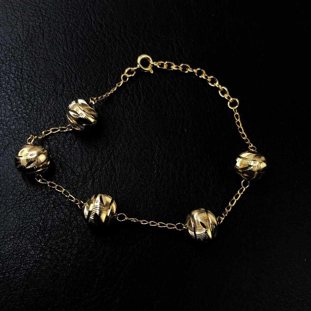 Pulseira folheada a ouro esferas escovadas