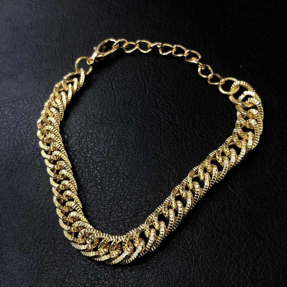 Pulseira folheada a ouro feminina groumet dupla 7mm