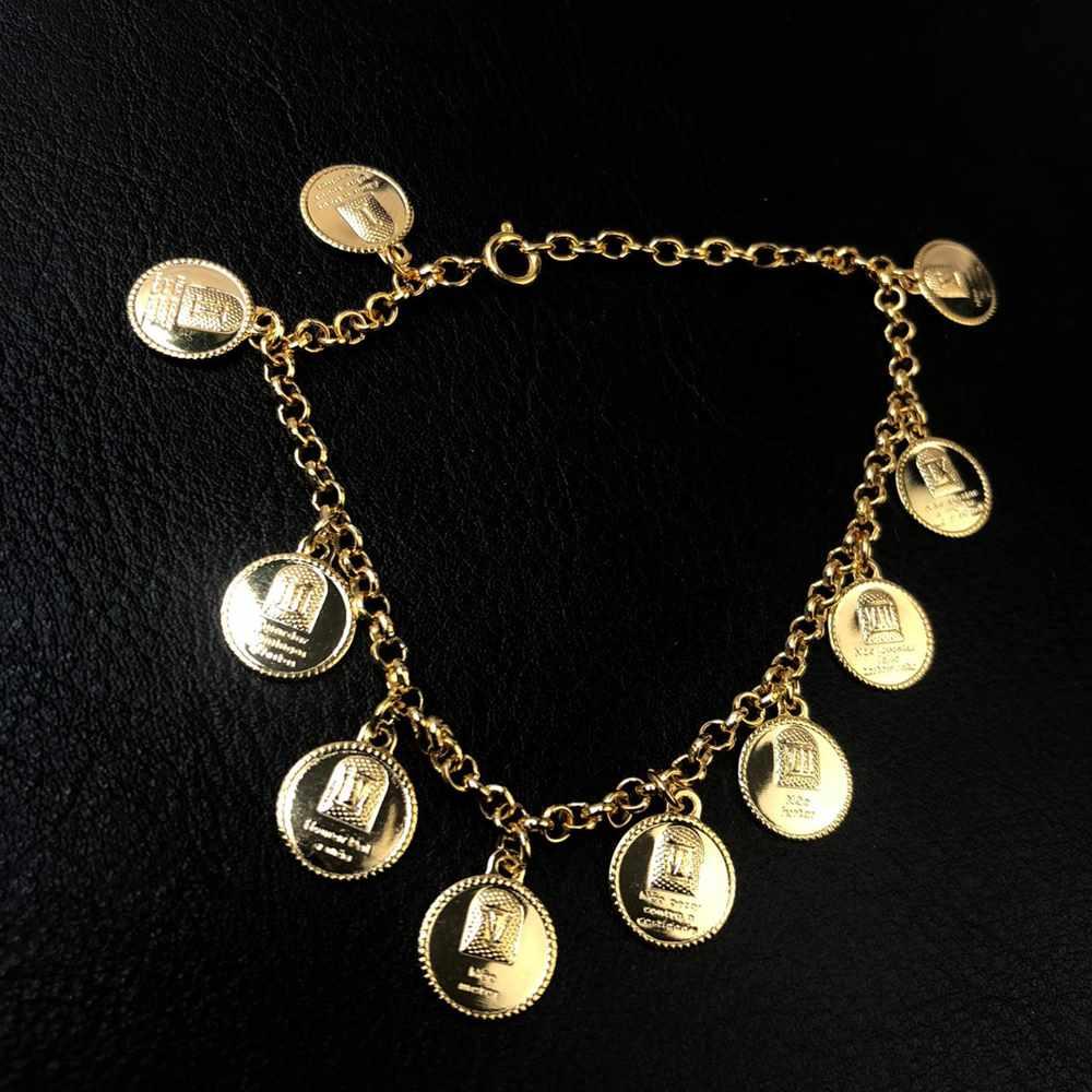 Pulseira folheada a ouro feminina os dez mandamentos