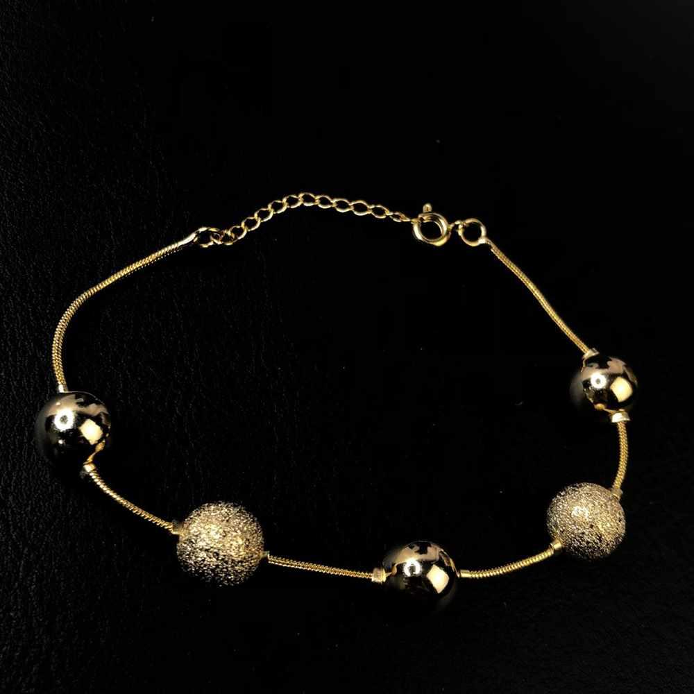 Pulseira folheada a ouro feminina veneziana esferas lisas e estilhaçadas