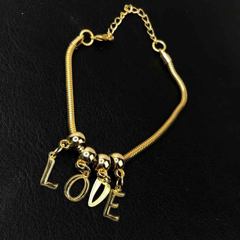 Pulseira folheada a ouro letreiro LOVE