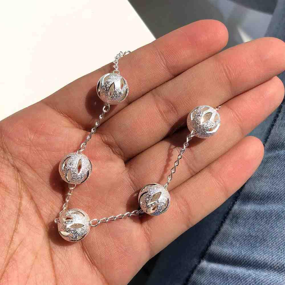 Pulseira folheada a prata esferas estilhaçadas diamantada