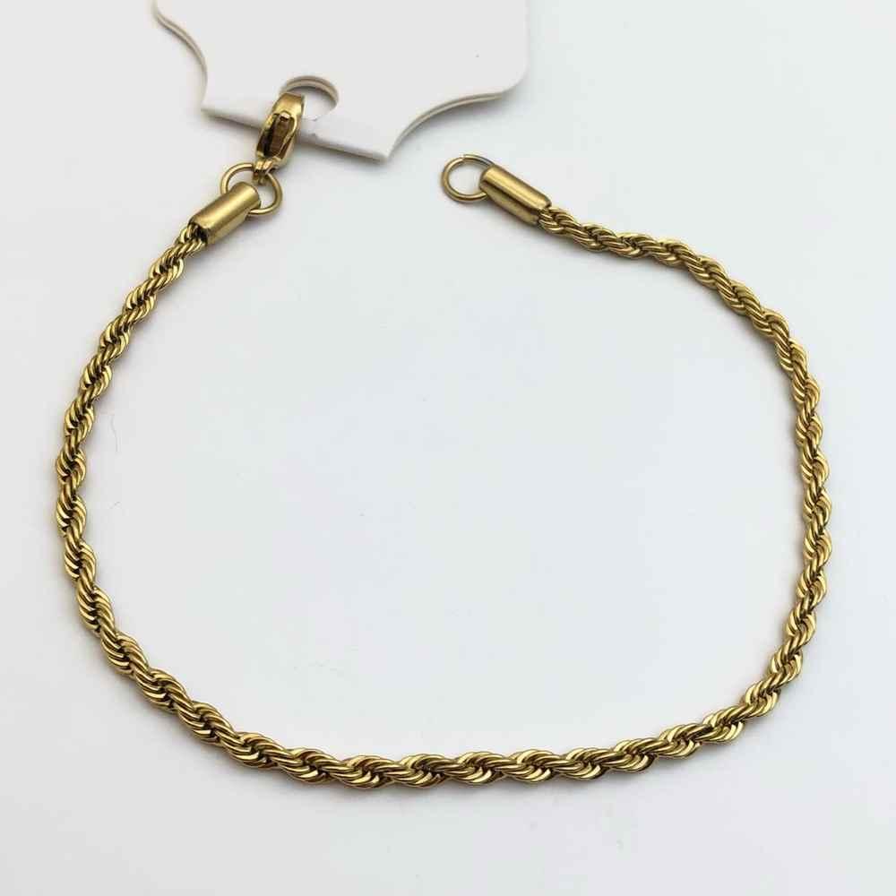 Pulseira masculina banhada dourada cordão baiano 2mm aço inoxidável