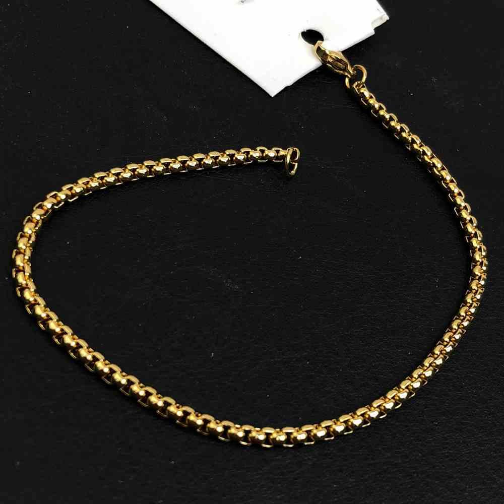 Pulseira masculina de aço dourada banhada veneziana 3mm aço inoxidável