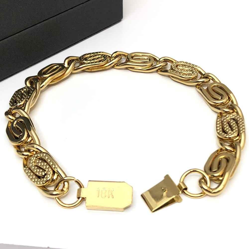 Pulseira masculina dourada banhada estilo piastrine 10mm aço inoxidável