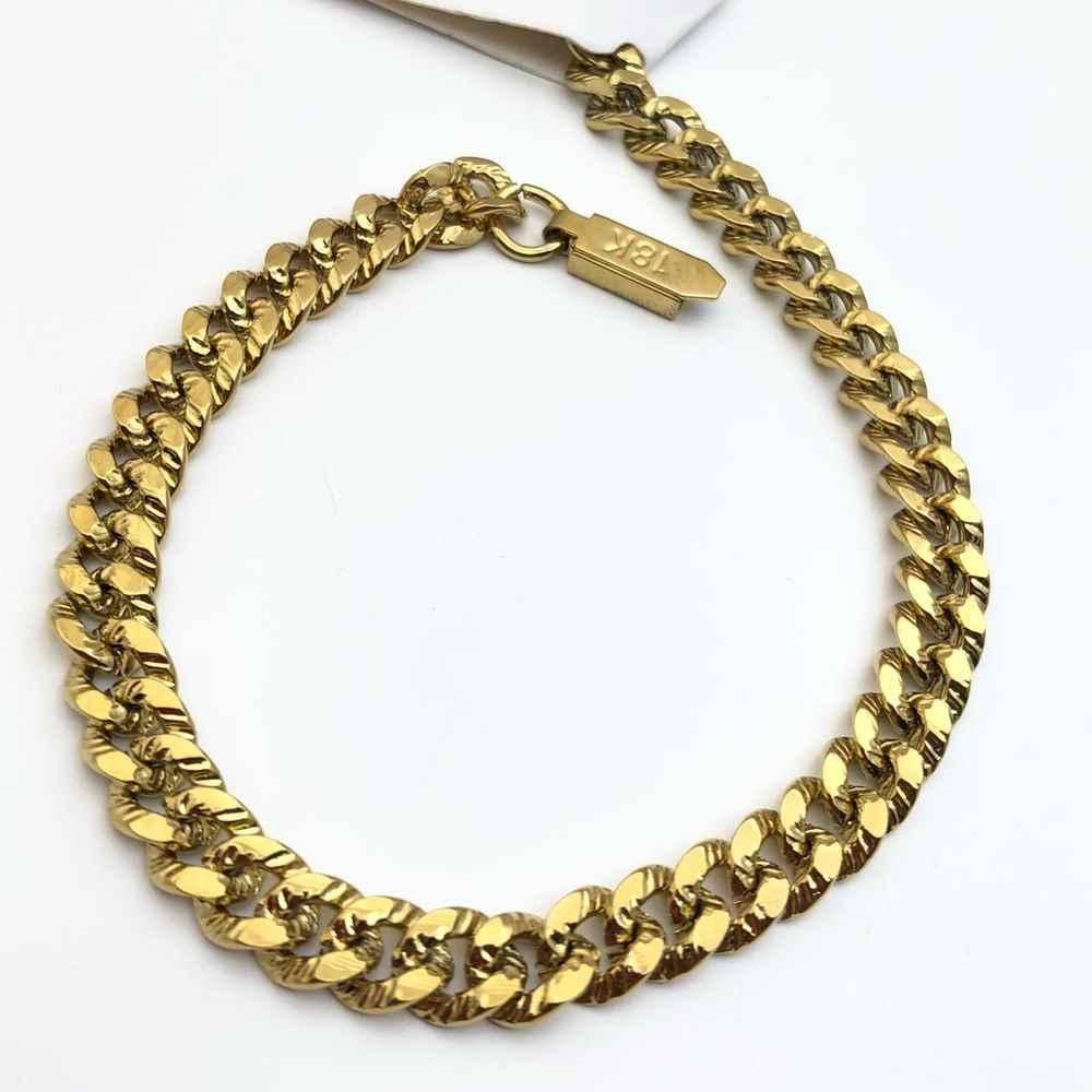 Pulseira masculina dourada banhada groumet estilo cravejada 6,5mm aço inoxidável