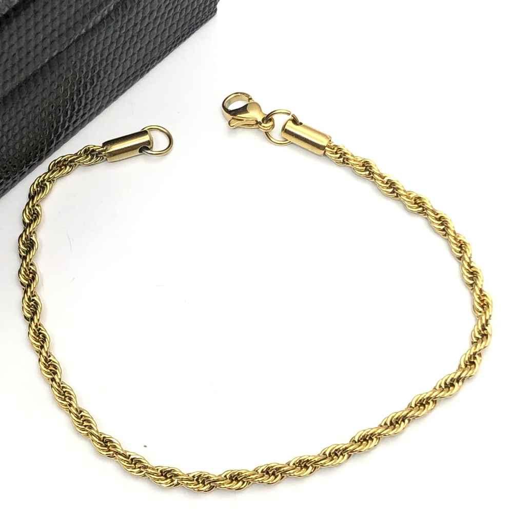 Pulseira masculina dourada cordão baiano 3mm aço inoxidável