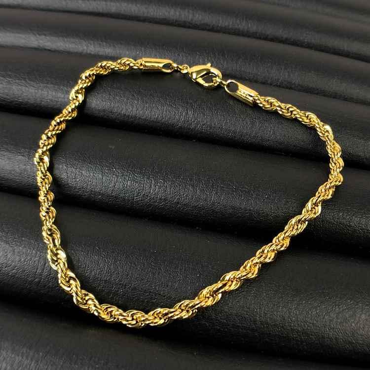 Pulseira masculina dourada cordão baiano 4mm aço inoxidável