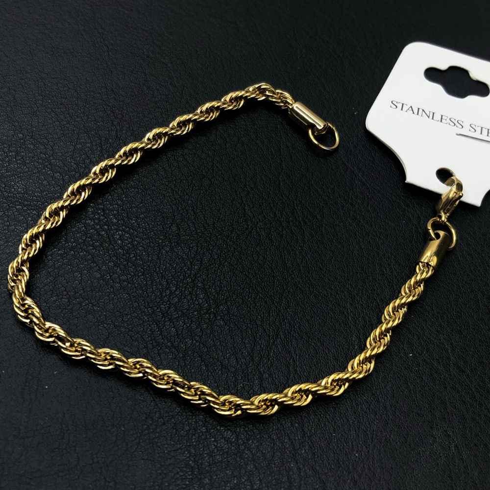 Pulseira masculina dourada cordão baiano 5mm aço inoxidável