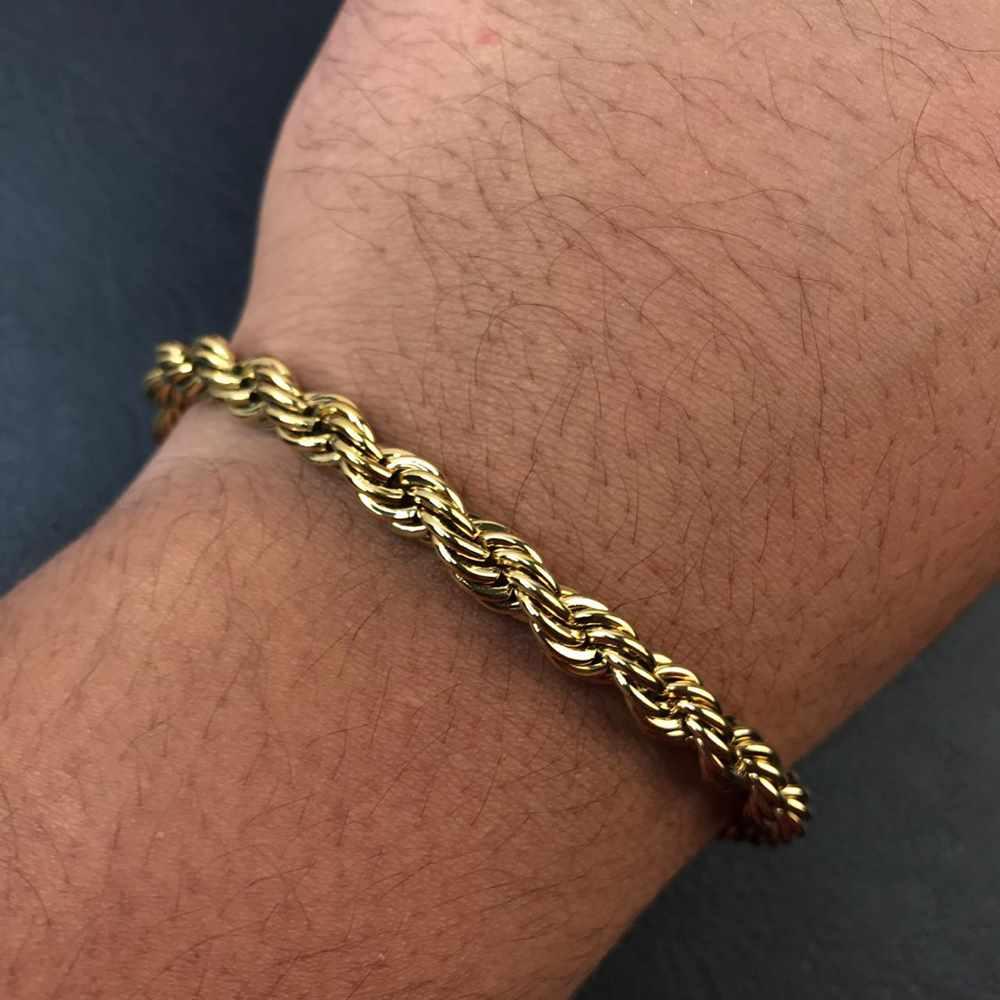 Pulseira masculina dourada cordão baiano 8mm aço inoxidável