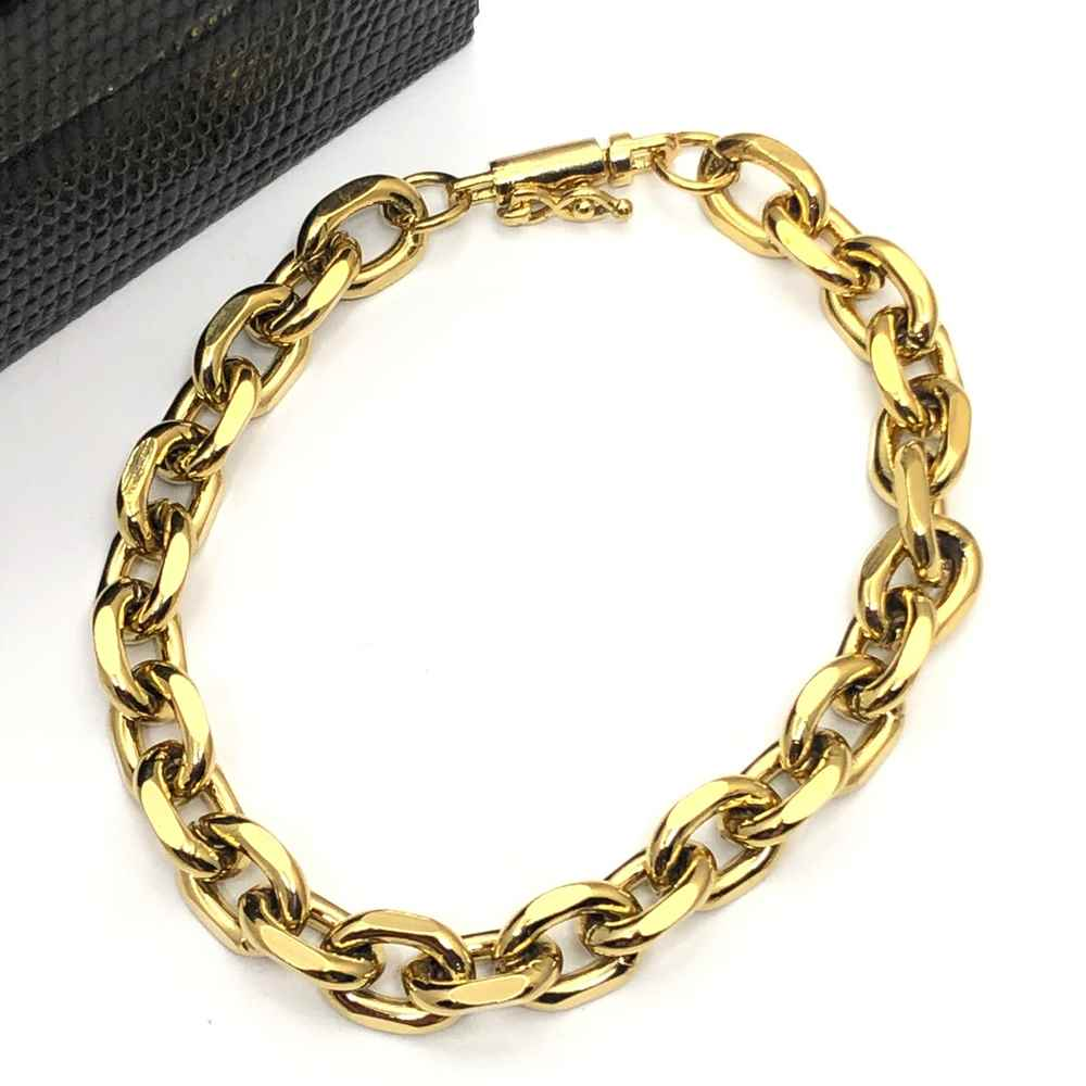 Pulseira masculina dourada elos cadeado 8mm aço inoxidável