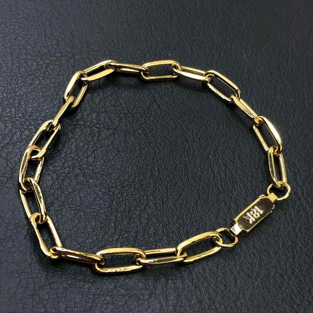Pulseira masculina dourada modelo elos abaulado 6mm fecho gaveta