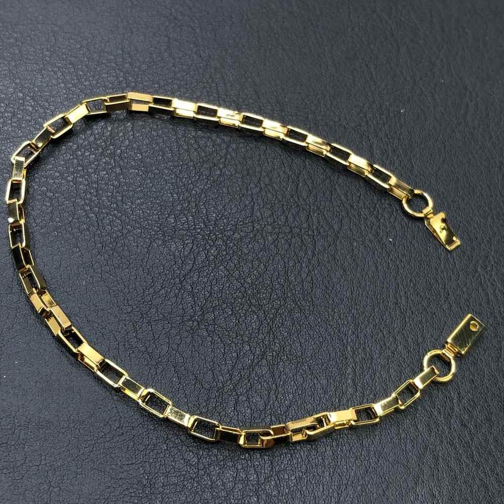 Pulseira masculina dourada tijolinho quadrada 3mm aço inoxidável