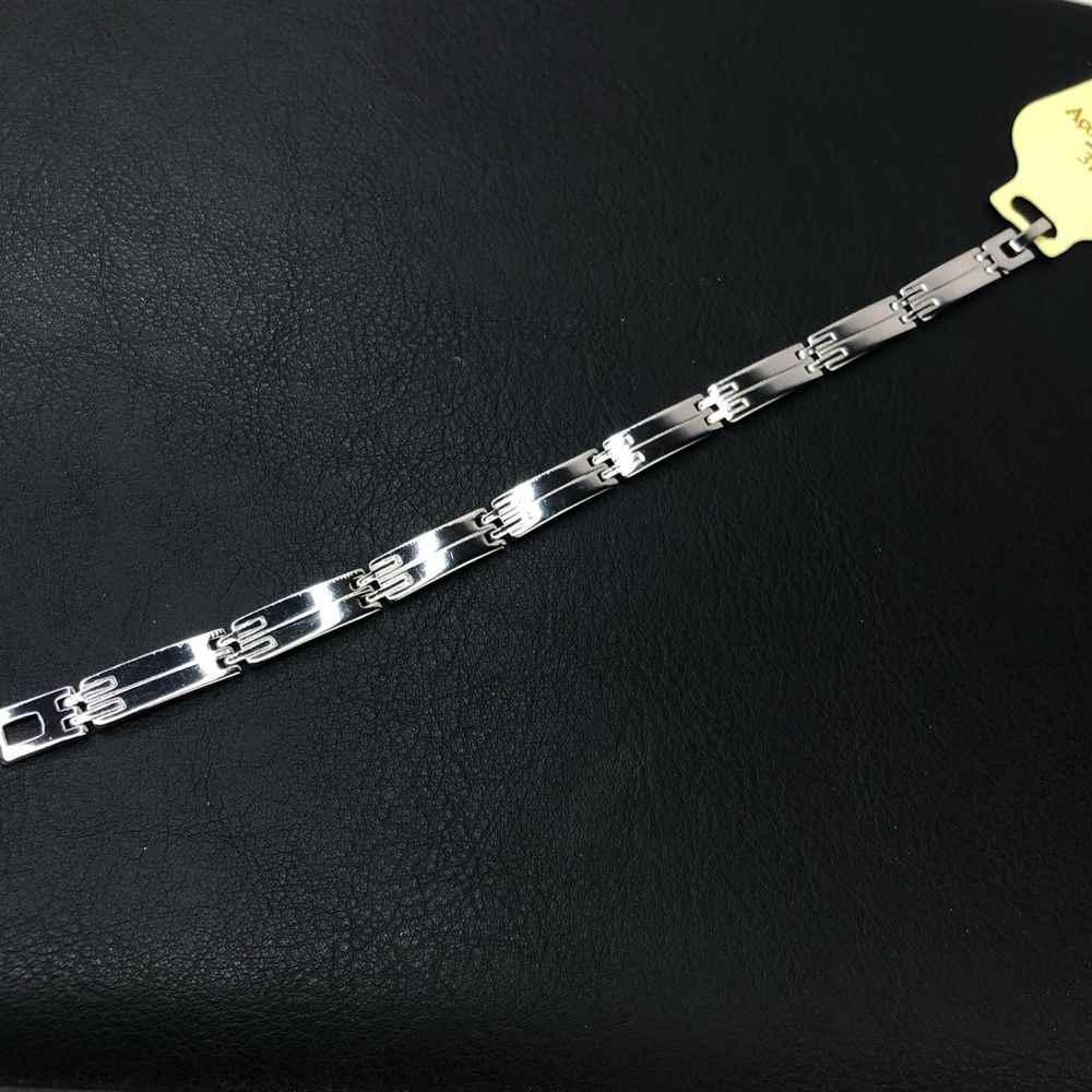 Pulseira masculina prata aço inoxidável 7,5mm fecho diferenciado