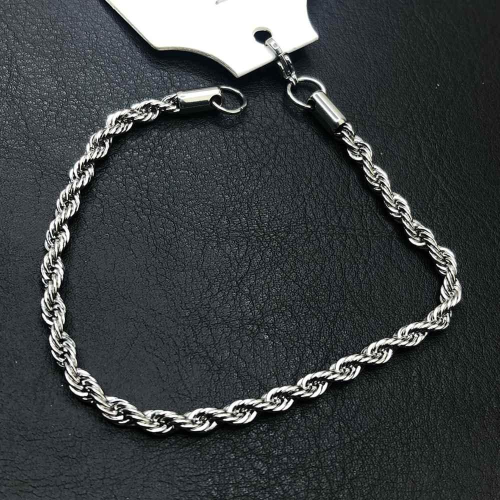 Pulseira masculina prata cordão baiano 4mm aço inoxidável