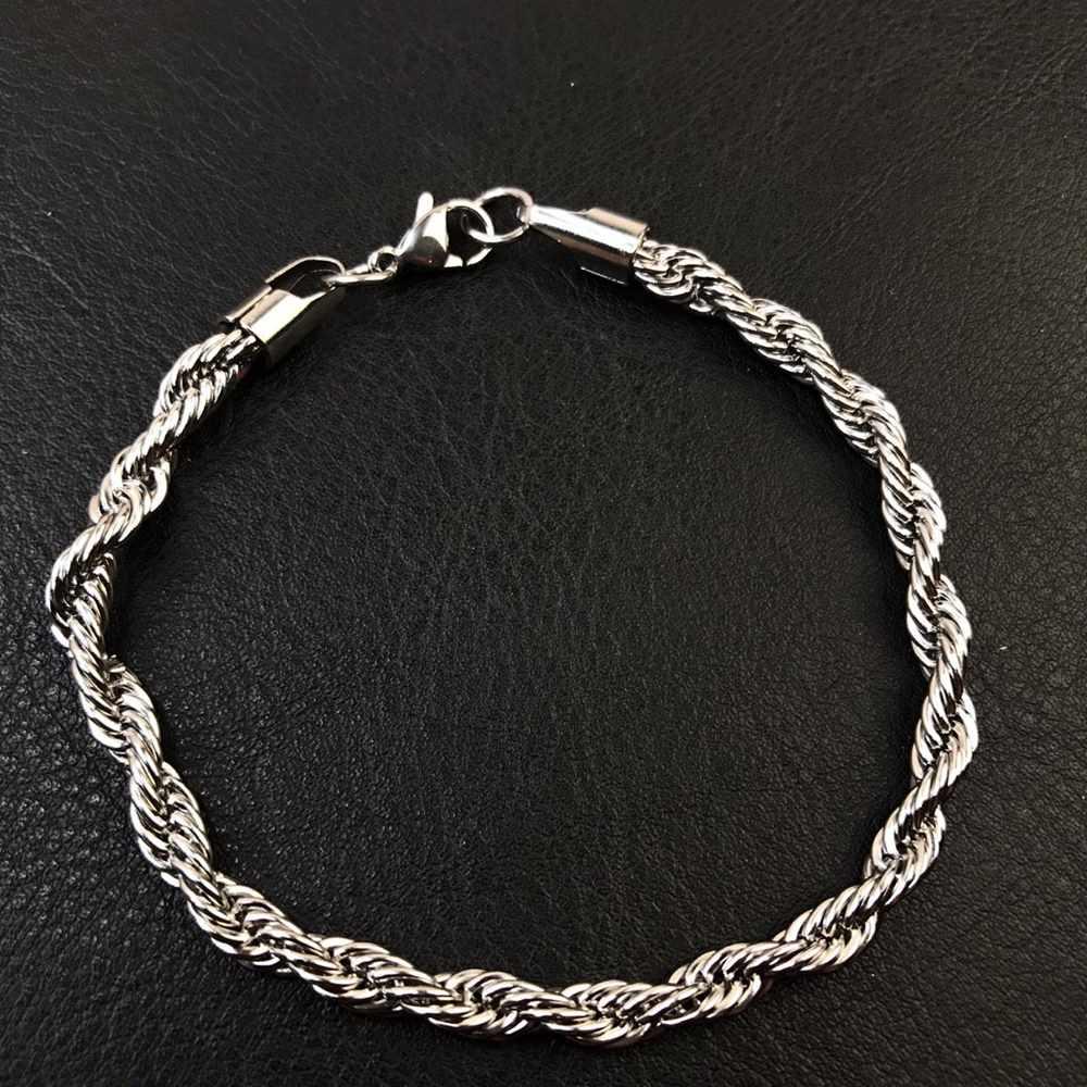 Pulseira masculina prata cordão baiano 5mm aço inoxidável