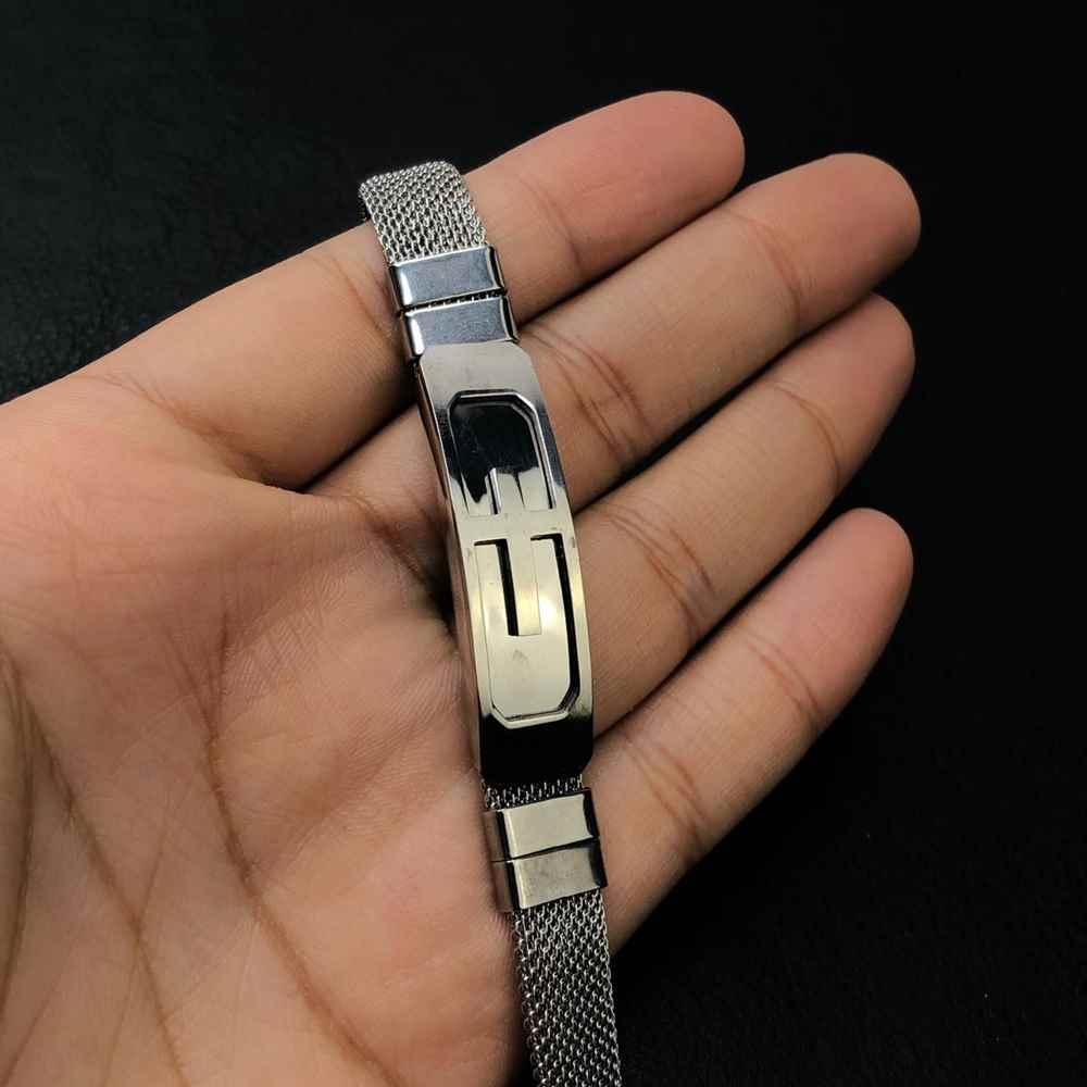 Pulseira masculina prata cruz em aço inoxidável - regulável