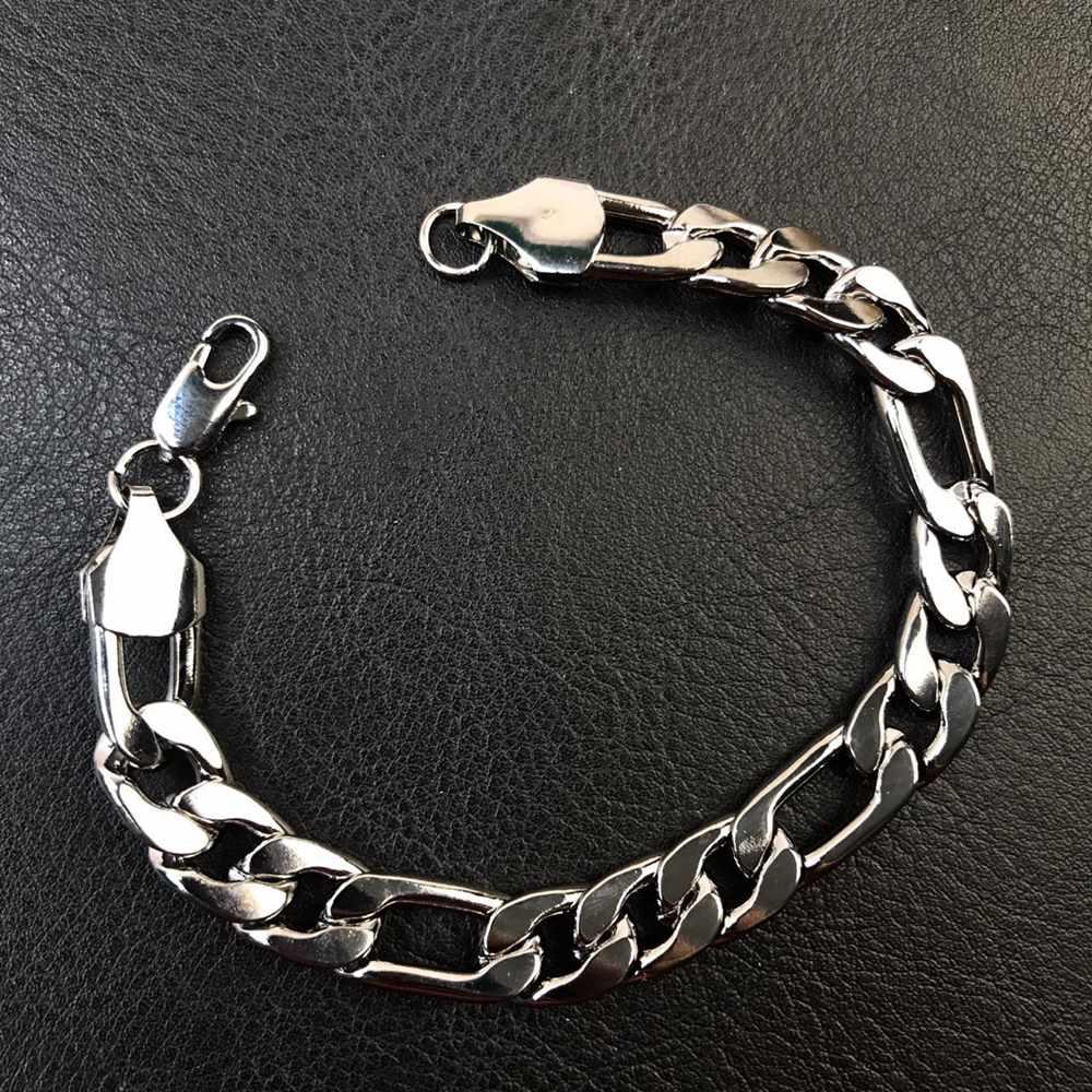 Pulseira masculina prata figaro 3por1 9mm aço inoxidável