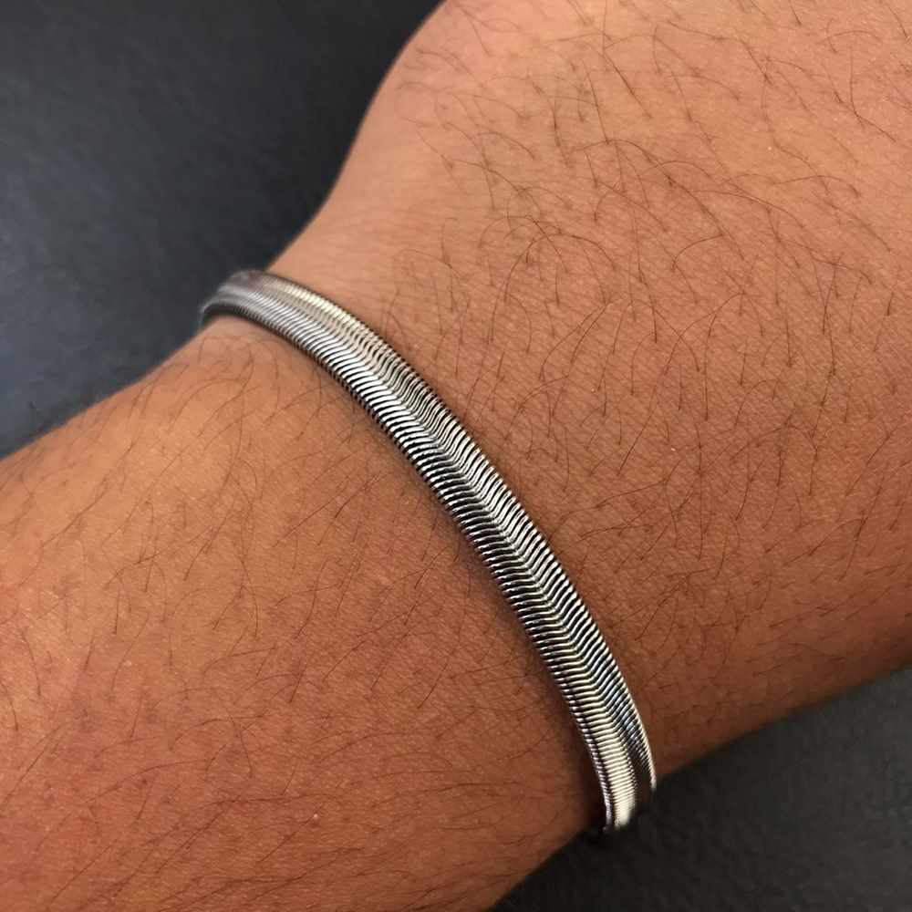 Pulseira masculina prata fita lisa 5mm aço inoxidável