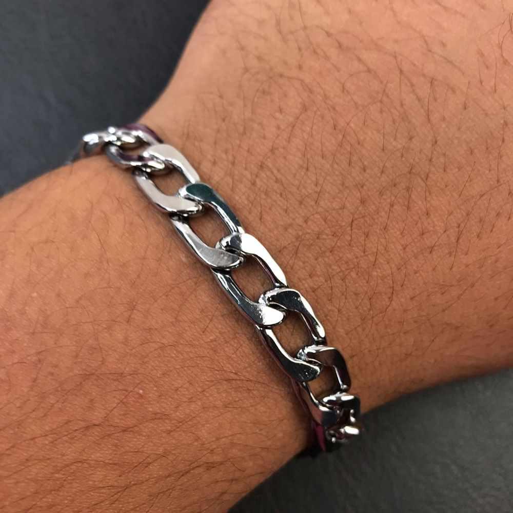 Pulseira masculina prata groumet 9mm aço inoxidável