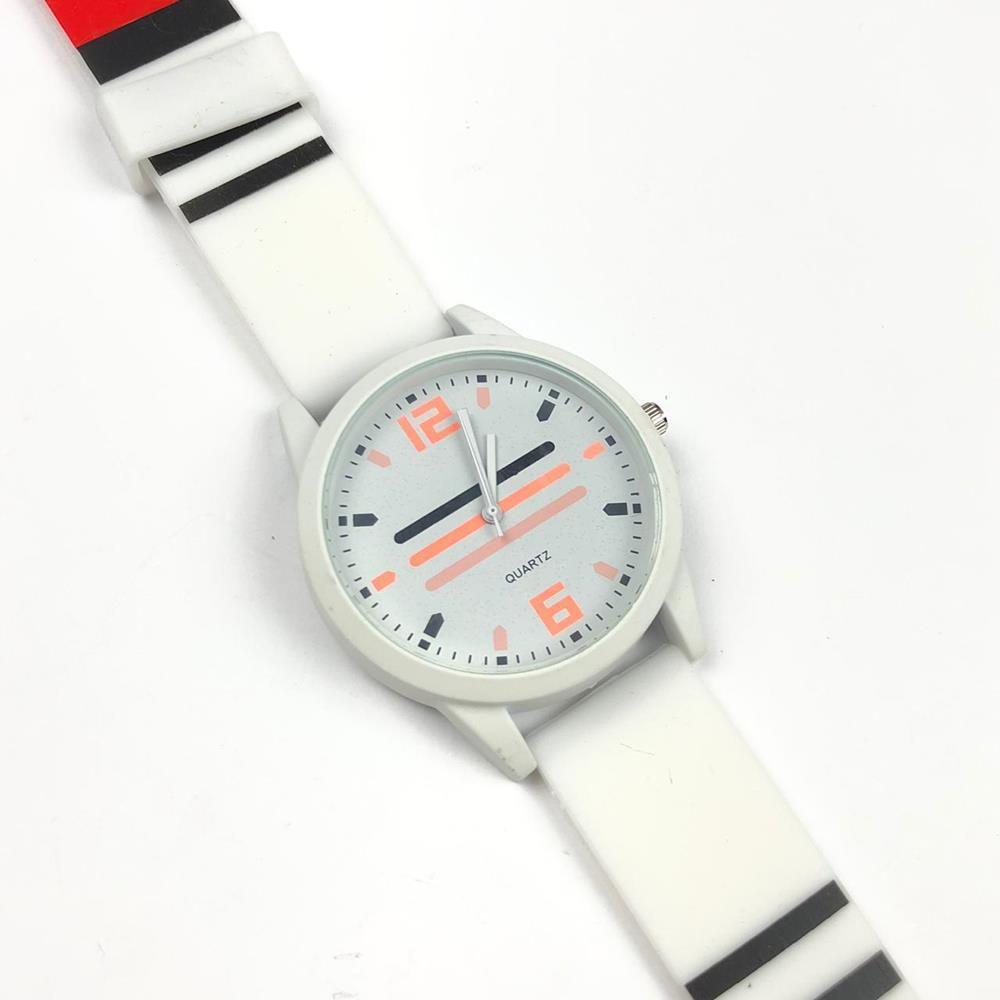 58cfef045 Relógio Feminino Branco Detalhes Preto e Vermelho Pulseira de Silicone