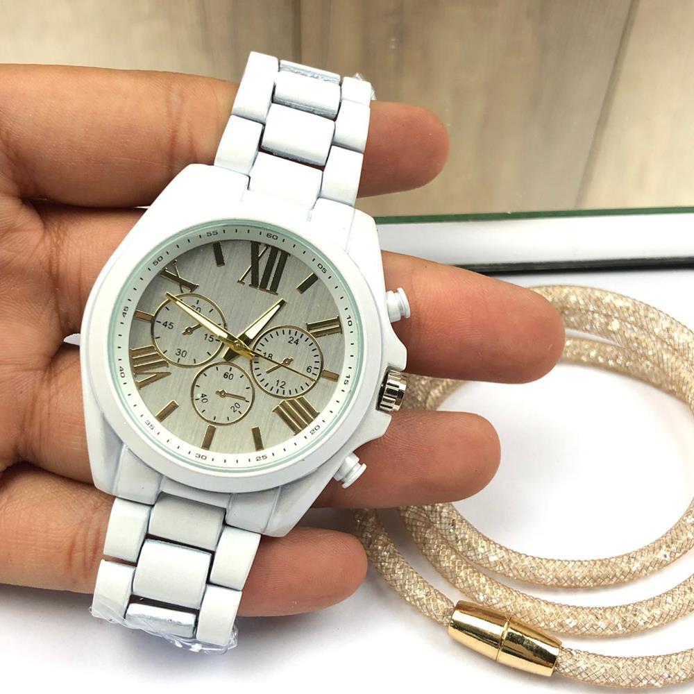 674b98c93 Relógio Feminino Branco + Pulseira Três Voltas Pedrarias Strass ...