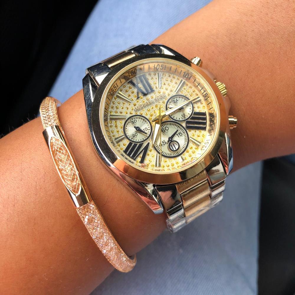 fb96c3bf12f Relógio Feminino Mesclado Dourado e Prata Fundo Amarelo + Pulseira  Solitária Ped