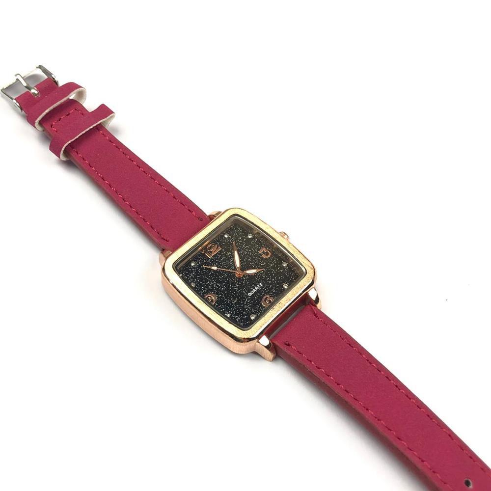 1100b66e2 Relógio Feminino Quadradinho Fundo Gálaxia Brilhante Pulseira Rosa Couro  Ecológi